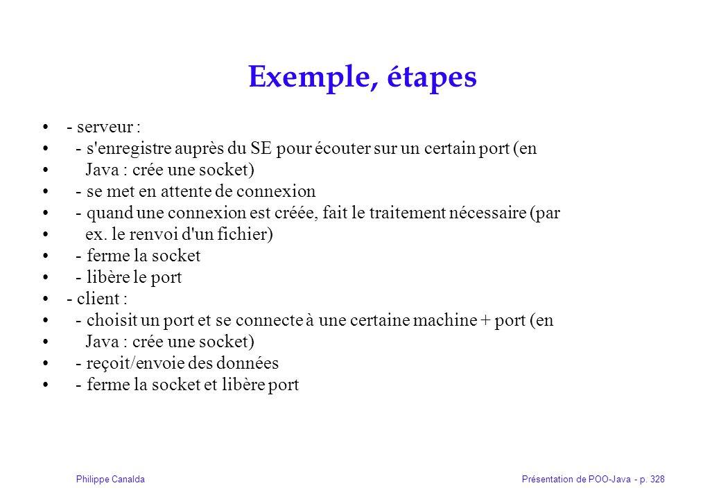 Présentation de POO-Java - p. 328Philippe Canalda Exemple, étapes - serveur : - s'enregistre auprès du SE pour écouter sur un certain port (en Java :