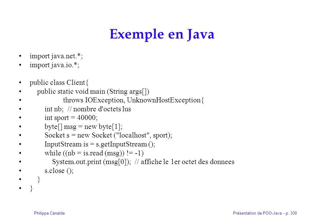 Présentation de POO-Java - p. 330Philippe Canalda Exemple en Java import java.net.*; import java.io.*; public class Client{ public static void main (S