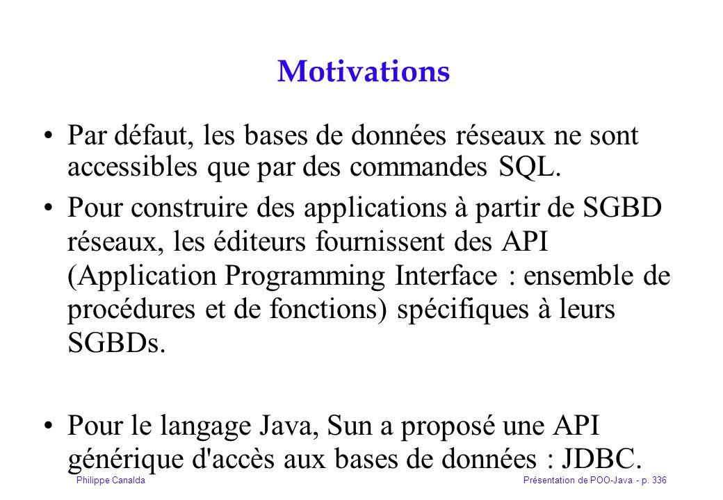 Présentation de POO-Java - p. 336Philippe Canalda Motivations Par défaut, les bases de données réseaux ne sont accessibles que par des commandes SQL.