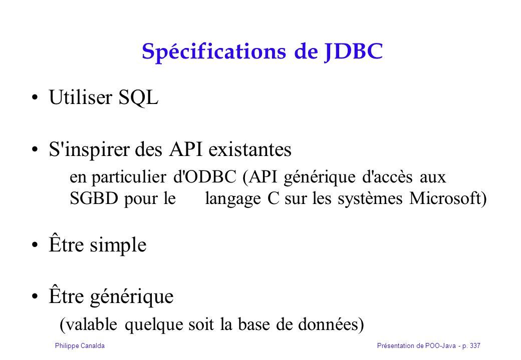 Présentation de POO-Java - p. 337Philippe Canalda Spécifications de JDBC Utiliser SQL S'inspirer des API existantes en particulier d'ODBC (API génériq
