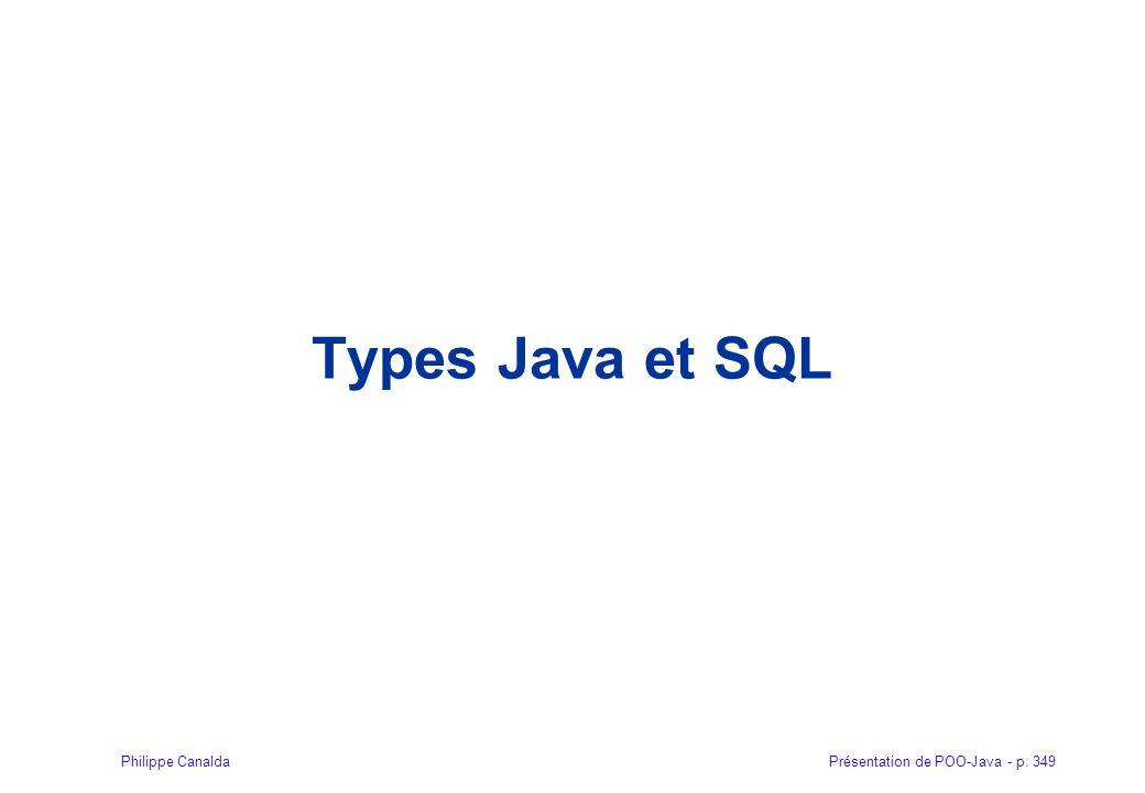 Présentation de POO-Java - p. 349Philippe Canalda Types Java et SQL