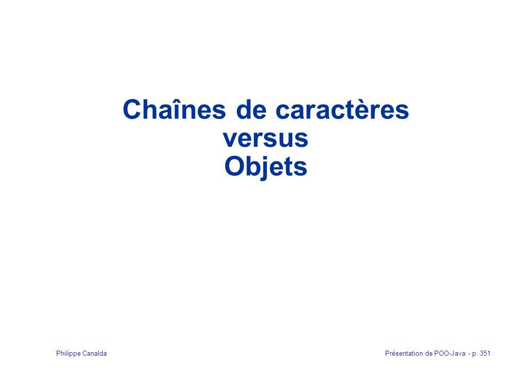 Présentation de POO-Java - p. 351Philippe Canalda Chaînes de caractères versus Objets