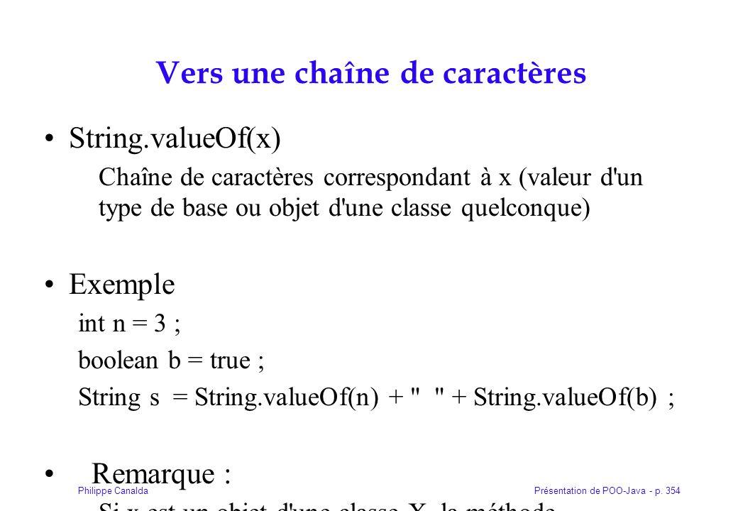 Présentation de POO-Java - p. 354Philippe Canalda Vers une chaîne de caractères String.valueOf(x) Chaîne de caractères correspondant à x (valeur d'un