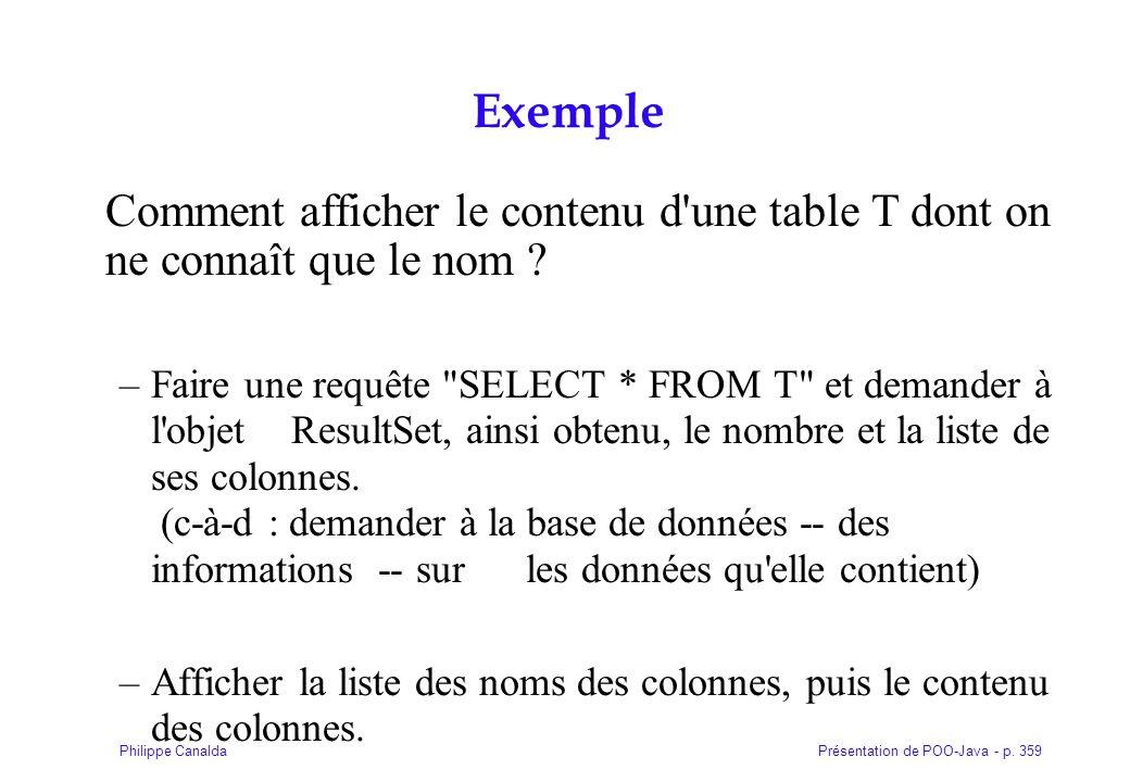 Présentation de POO-Java - p. 359Philippe Canalda Exemple Comment afficher le contenu d'une table T dont on ne connaît que le nom ? –Faire une requête