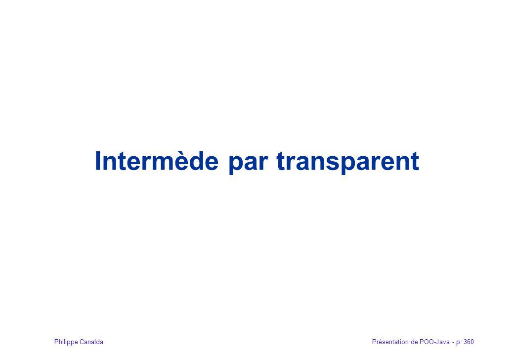 Présentation de POO-Java - p. 360Philippe Canalda Intermède par transparent