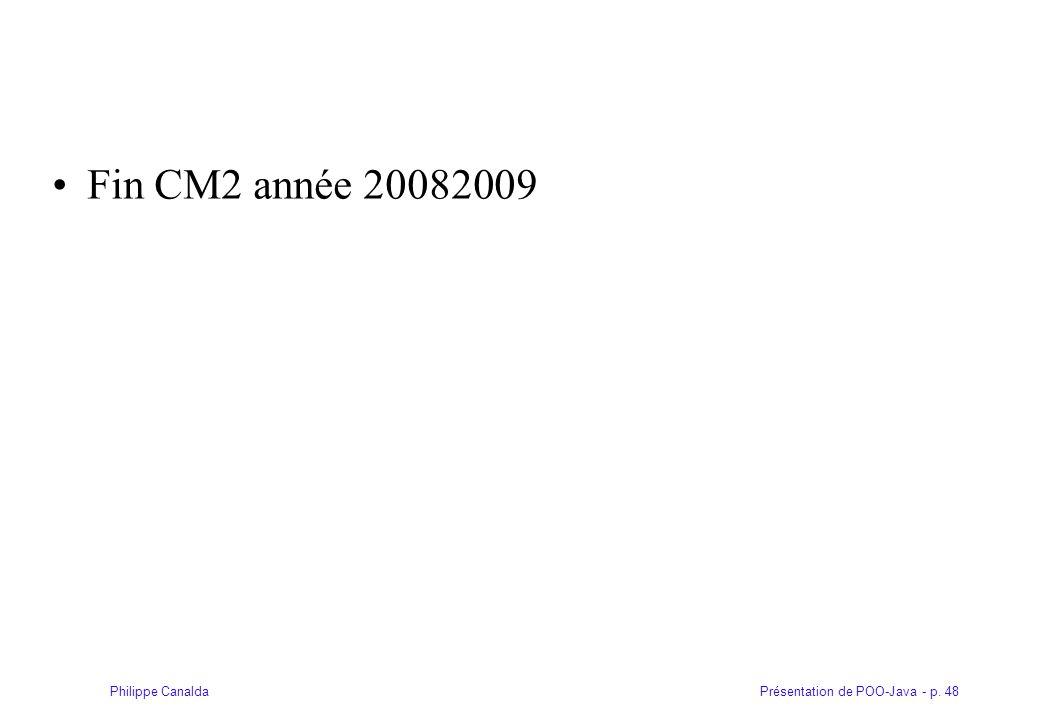 Présentation de POO-Java - p. 48Philippe Canalda Fin CM2 année 20082009