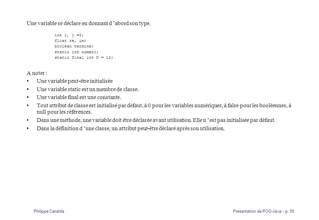 Présentation de POO-Java - p. 55Philippe Canalda Une variable se déclare en donnant d 'abord son type. int i, j =5; float re, im; boolean termine; sta