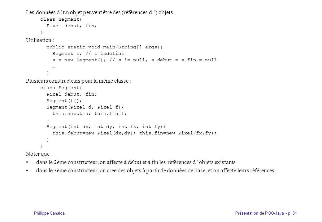 Présentation de POO-Java - p. 81Philippe Canalda Les données d 'un objet peuvent être des (références d ') objets. class Segment{ Pixel debut, fin; }