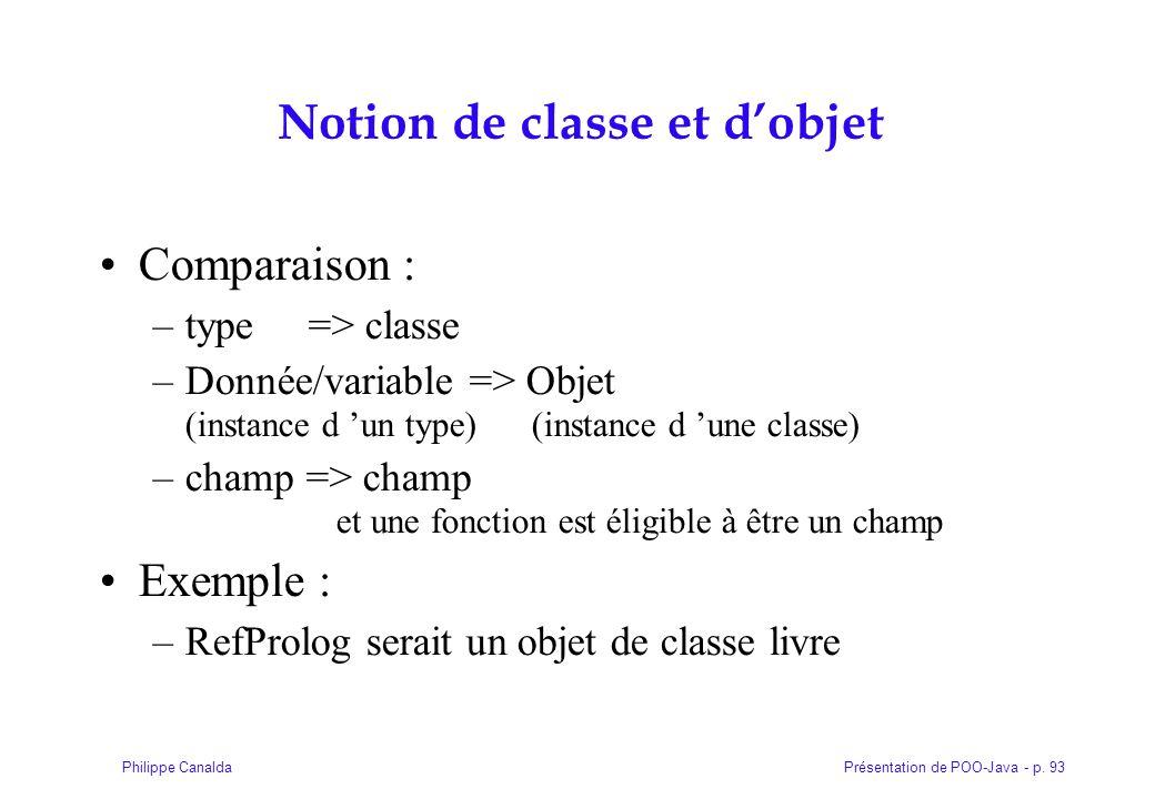Présentation de POO-Java - p. 93Philippe Canalda Notion de classe et d'objet Comparaison : –type => classe –Donnée/variable => Objet (instance d 'un t