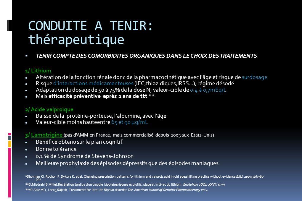 CONDUITE A TENIR: thérapeutique  TENIR COMPTE DES COMORBIDITES ORGANIQUES DANS LE CHOIX DES TRAITEMENTS 1/ Lithium Altération de la fonction rénale d