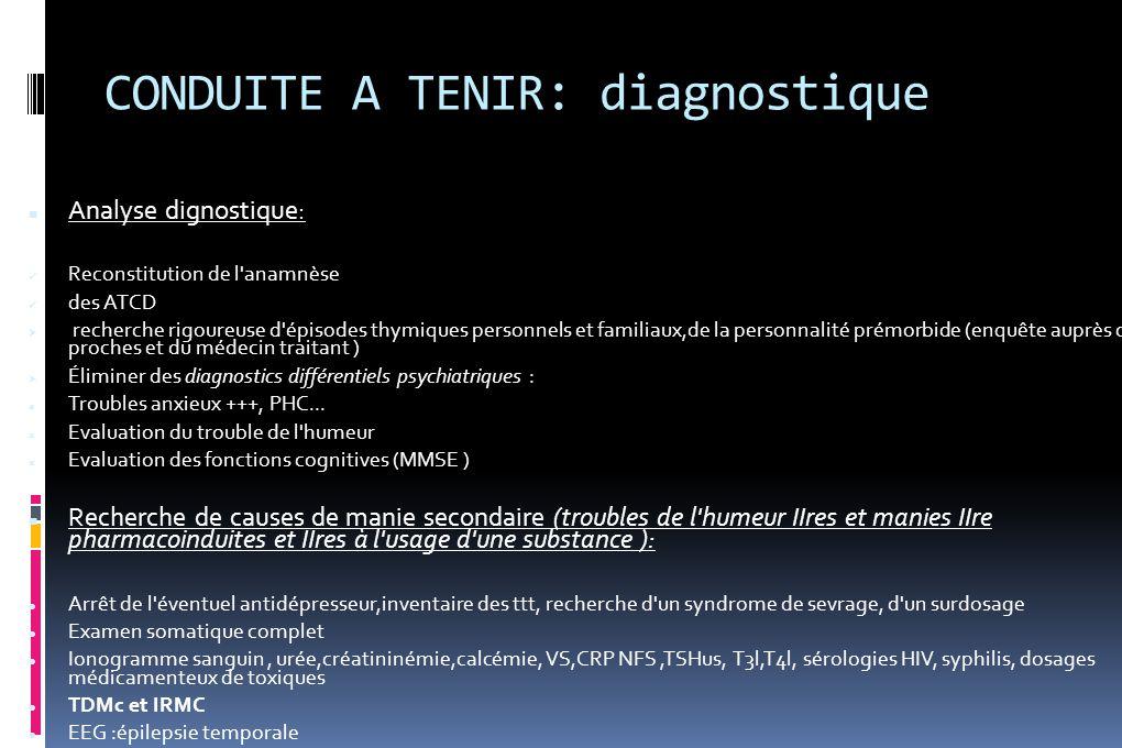 CONDUITE A TENIR: diagnostique Analyse dignostique: Reconstitution de l'anamnèse des ATCD  recherche rigoureuse d'épisodes thymiques personnels et fa