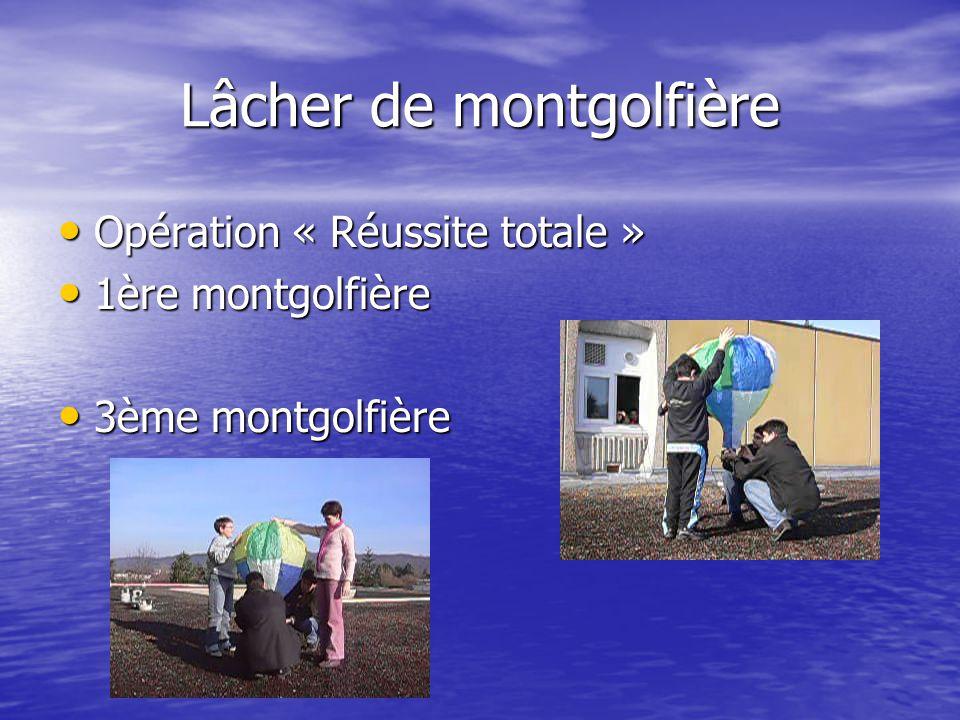 Lâcher de montgolfière Opération « Réussite totale » Opération « Réussite totale » 1ère montgolfière 1ère montgolfière 3ème montgolfière 3ème montgolfière