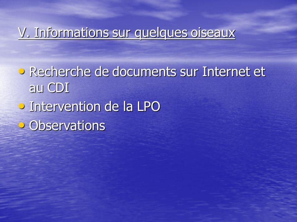 V. Informations sur quelques oiseaux Recherche de documents sur Internet et au CDI Recherche de documents sur Internet et au CDI Intervention de la LP