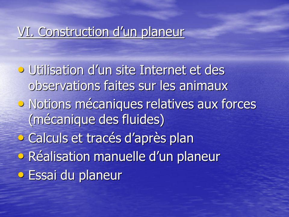 VI. Construction d'un planeur Utilisation d'un site Internet et des observations faites sur les animaux Utilisation d'un site Internet et des observat