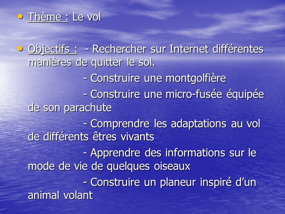 Thème : Le vol Thème : Le vol Objectifs : - Rechercher sur Internet différentes manières de quitter le sol. Objectifs : - Rechercher sur Internet diff