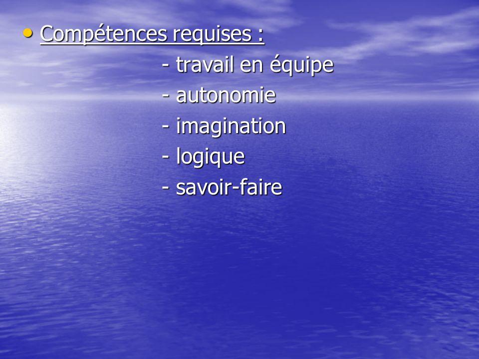 Compétences requises : Compétences requises : - travail en équipe - travail en équipe - autonomie - autonomie - imagination - imagination - logique - logique - savoir-faire - savoir-faire