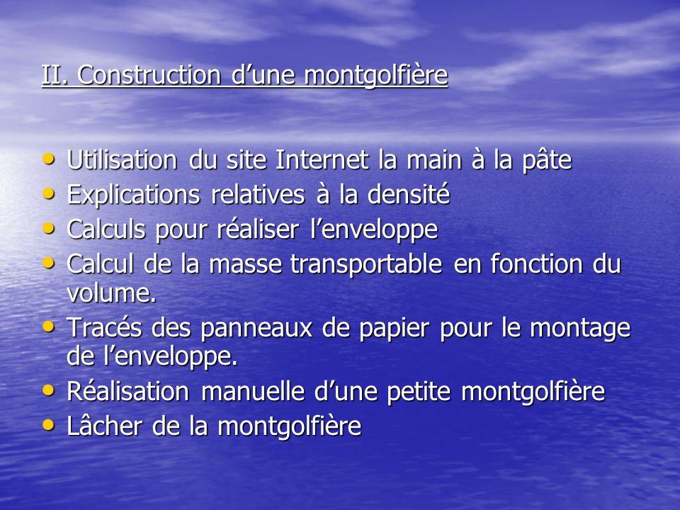 II. Construction d'une montgolfière Utilisation du site Internet la main à la pâte Utilisation du site Internet la main à la pâte Explications relativ