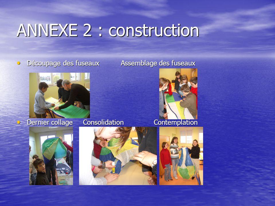 ANNEXE 2 : construction Découpage des fuseaux Assemblage des fuseaux Découpage des fuseaux Assemblage des fuseaux Dernier collage Consolidation Contem