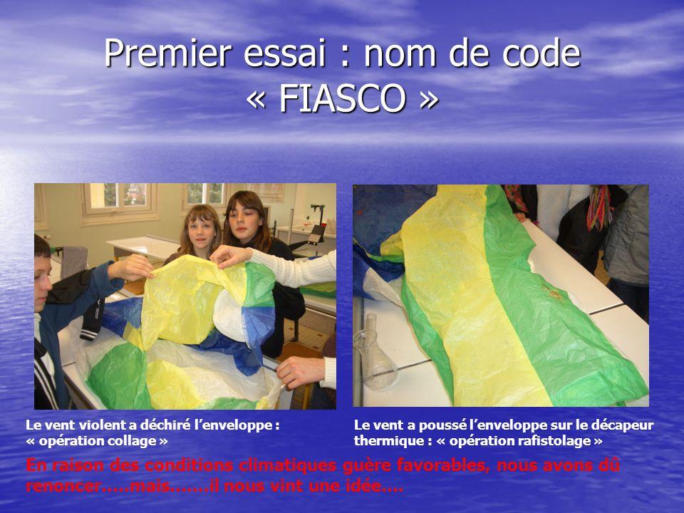 Premier essai : nom de code « FIASCO » Le vent violent a déchiré l'enveloppe : « opération collage » Le vent a poussé l'enveloppe sur le décapeur ther