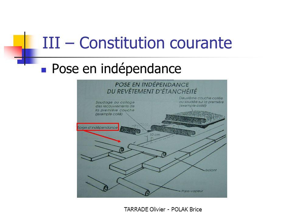 TARRADE Olivier - POLAK Brice Pose en indépendance III – Constitution courante
