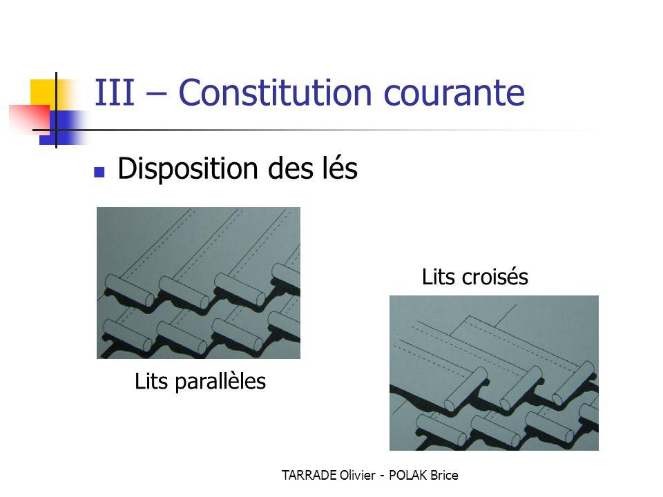 TARRADE Olivier - POLAK Brice Disposition des lés Lits parallèles Lits croisés III – Constitution courante