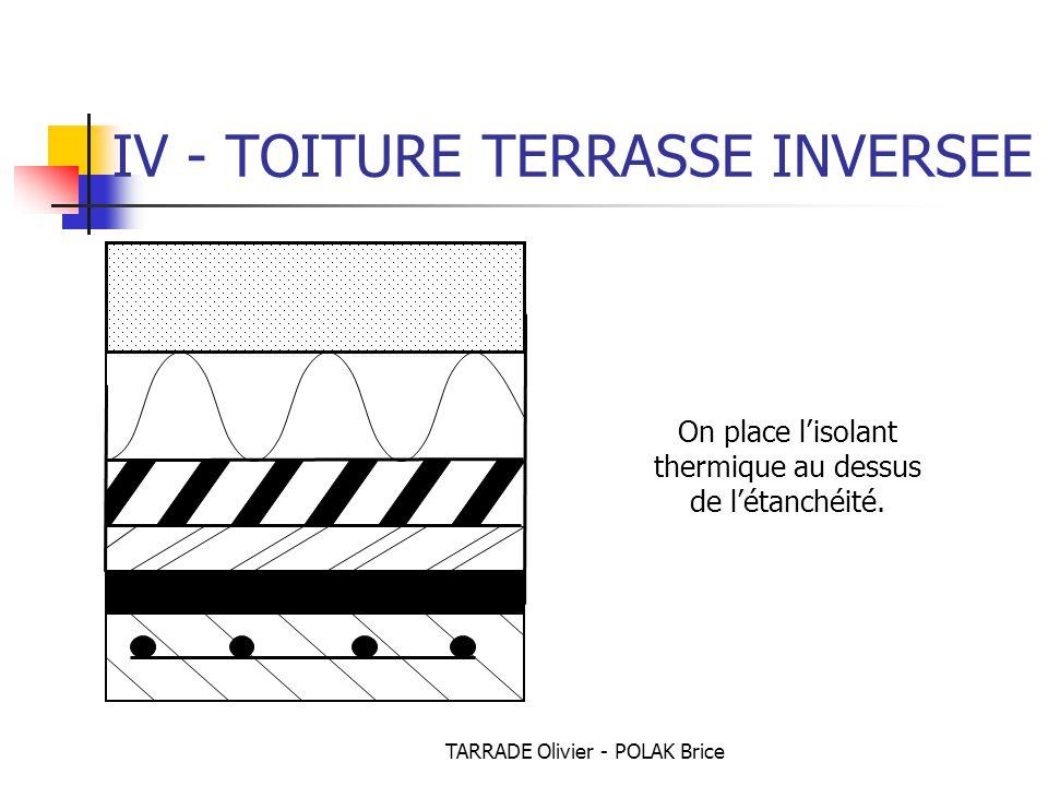 TARRADE Olivier - POLAK Brice IV - TOITURE TERRASSE INVERSEE On place l'isolant thermique au dessus de l'étanchéité.