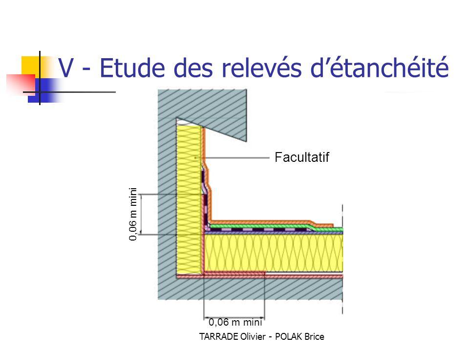 TARRADE Olivier - POLAK Brice Facultatif V - Etude des relevés d'étanchéité 0,06 m mini