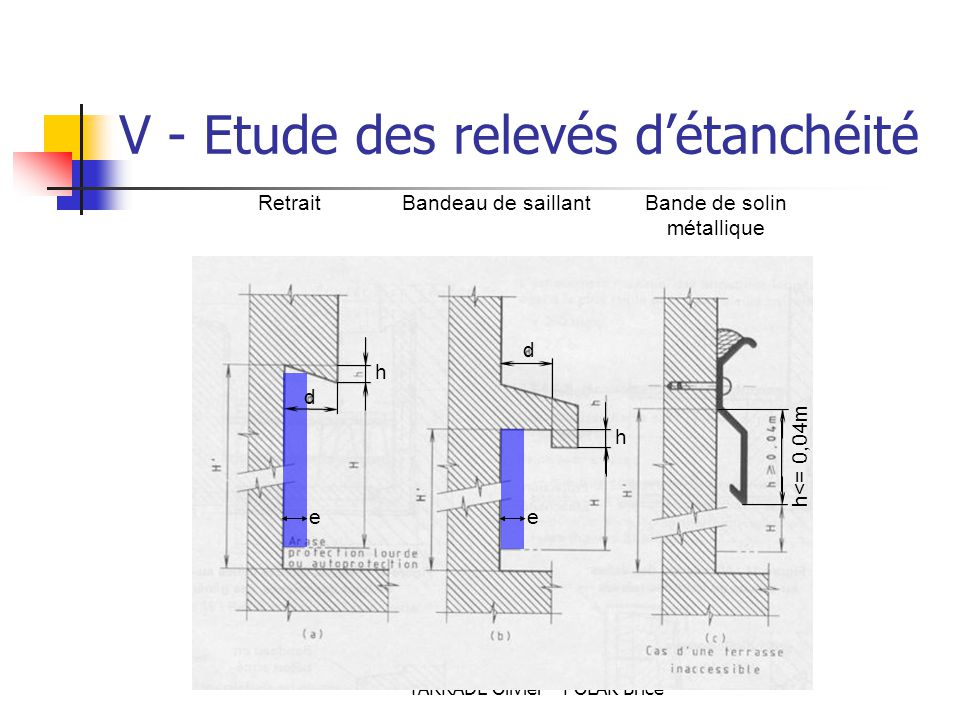 TARRADE Olivier - POLAK Brice RetraitBandeau de saillantBande de solin métallique ee d d hh h<= 0,04m V - Etude des relevés d'étanchéité