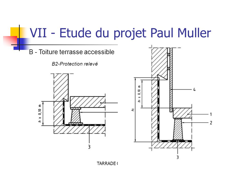 TARRADE Olivier - POLAK Brice VII - Etude du projet Paul Muller B - Toiture terrasse accessible B2-Protection relevé