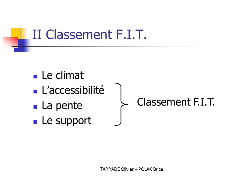 TARRADE Olivier - POLAK Brice II Classement F.I.T. Le climat L'accessibilité La pente Le support Classement F.I.T.