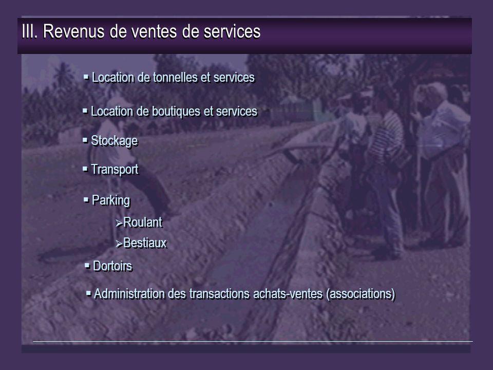 III. Revenus de ventes de services  Location de tonnelles et services  Stockage  Transport  Location de boutiques et services  Parking  Dortoirs