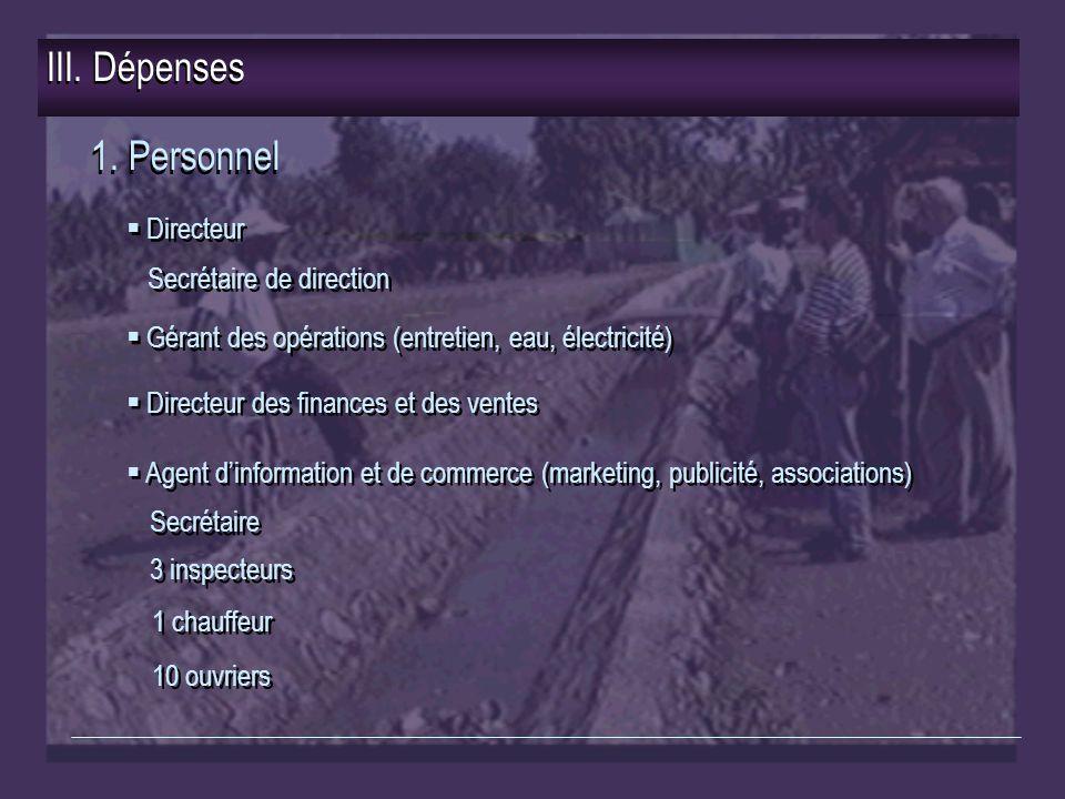 III. Dépenses 1.