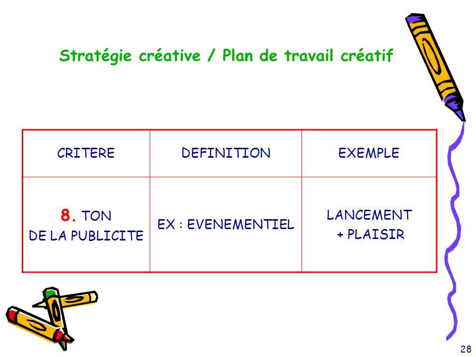 28 Stratégie créative / Plan de travail créatif CRITEREDEFINITIONEXEMPLE 8. 8. TON DE LA PUBLICITE EX : EVENEMENTIEL LANCEMENT + PLAISIR