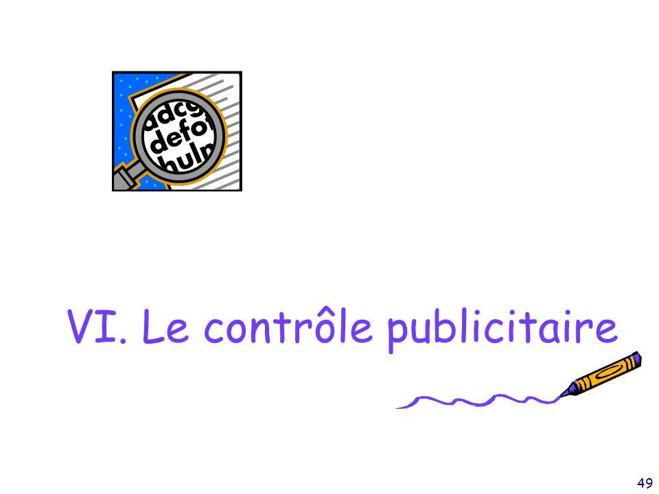 49 VI. Le contrôle publicitaire