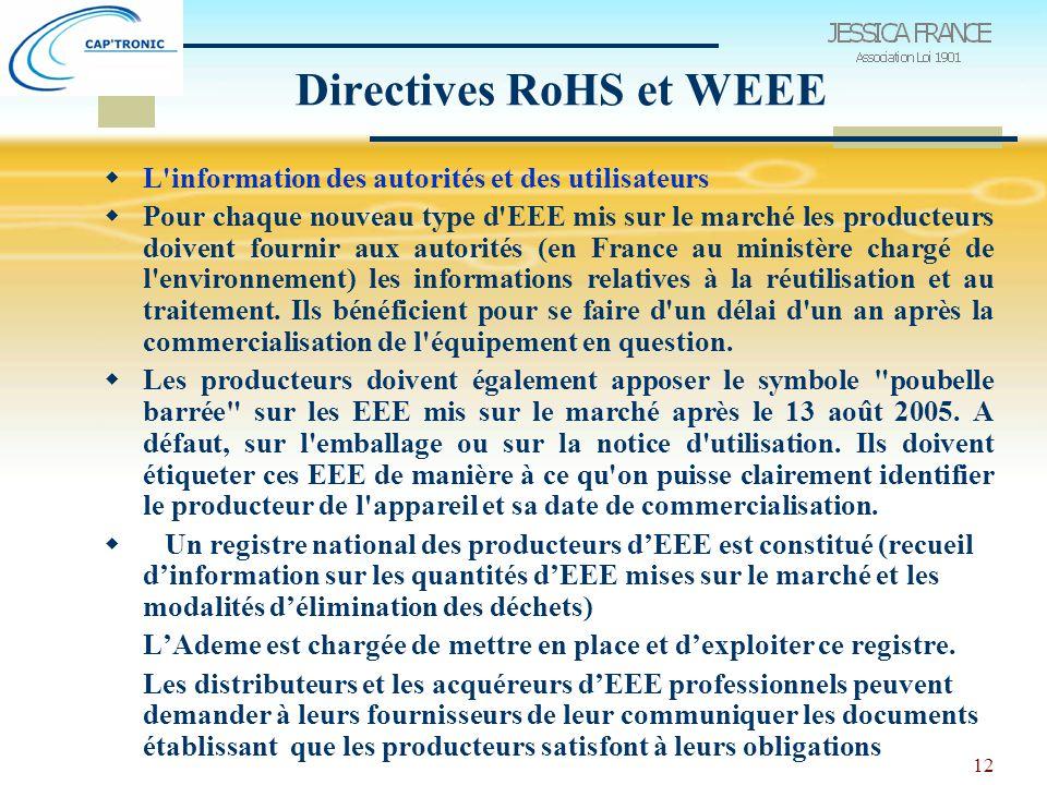 12 Directives RoHS et WEEE  L information des autorités et des utilisateurs  Pour chaque nouveau type d EEE mis sur le marché les producteurs doivent fournir aux autorités (en France au ministère chargé de l environnement) les informations relatives à la réutilisation et au traitement.