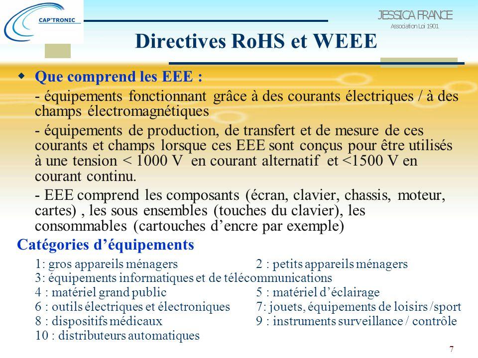 8 Directives RoHS et WEEE  Equipements exclus des 2 directives - EEE destinés à usage militaire / protection de l 'Etat - gros outils industriels fixes  Equipements exclus pour la RoHS : - dispositifs médicaux - instruments de surveillance / contrôle - pièces détachées pour réparation d'EEE (sur le marché avant 1/7/06) - piles et accumulateurs associés  Equipements exclus pour la WEEE : dispositifs médicaux implantés et infectés, appareils d'éclairage domestique à tubes fluorescents, ampoules à filament.