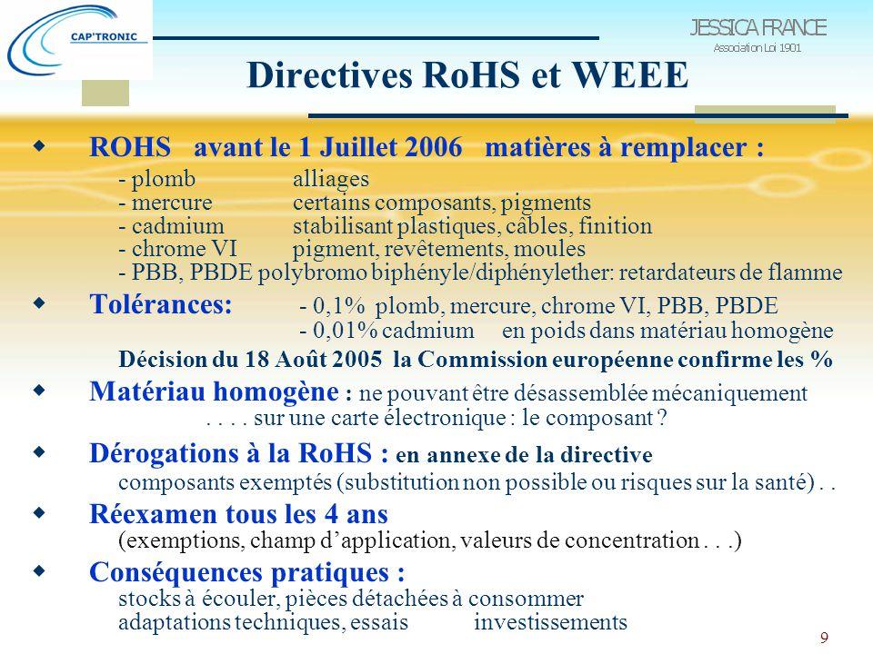 9 Directives RoHS et WEEE  ROHS avant le 1 Juillet 2006 matières à remplacer : - plomb alliages - mercurecertains composants, pigments - cadmiumstabilisant plastiques, câbles, finition - chrome VIpigment, revêtements, moules - PBB, PBDE polybromo biphényle/diphénylether: retardateurs de flamme  Tolérances: - 0,1% plomb, mercure, chrome VI, PBB, PBDE - 0,01% cadmium en poids dans matériau homogène Décision du 18 Août 2005 la Commission européenne confirme les %  Matériau homogène : ne pouvant être désassemblée mécaniquement....