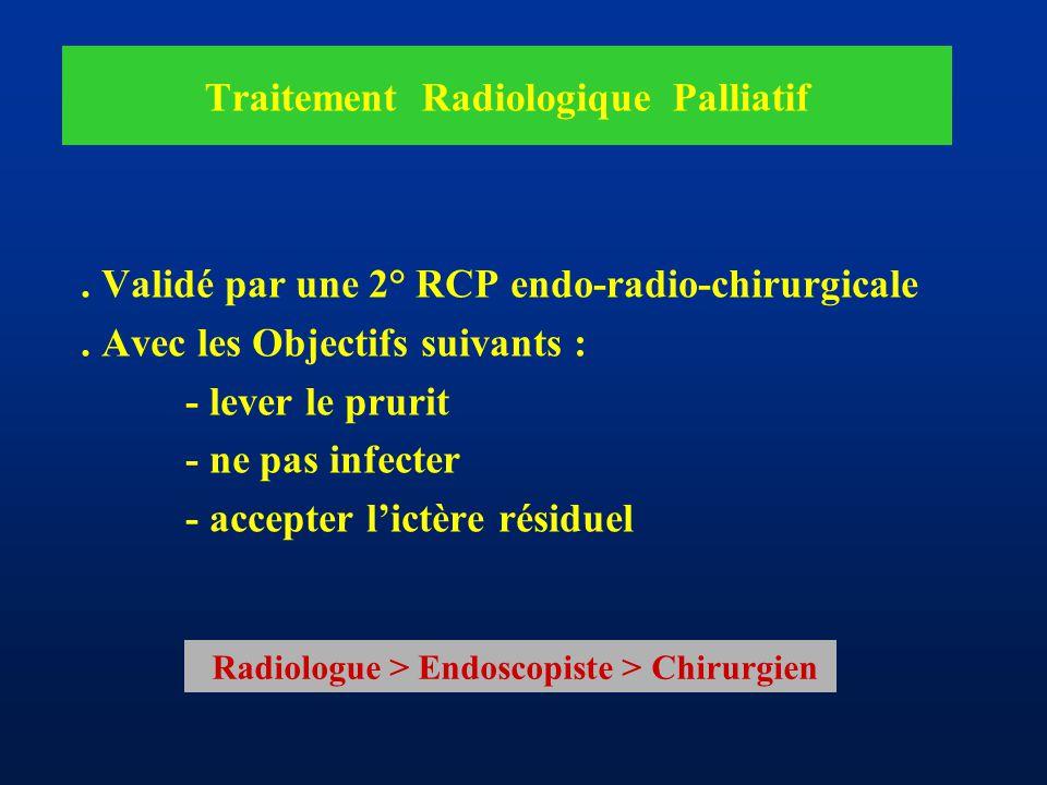 Traitement Radiologique Palliatif. Validé par une 2° RCP endo-radio-chirurgicale. Avec les Objectifs suivants : - lever le prurit - ne pas infecter -
