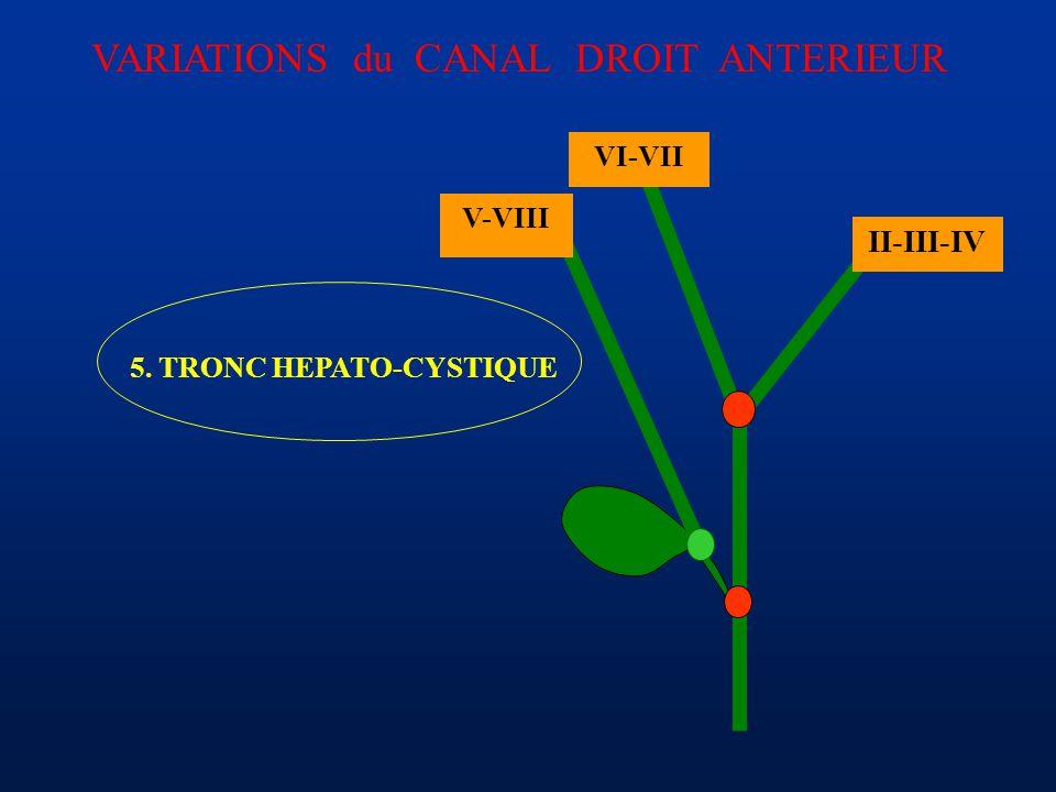 II-III-IV VI-VII 5. TRONC HEPATO-CYSTIQUE V-VIII VARIATIONS du CANAL DROIT ANTERIEUR