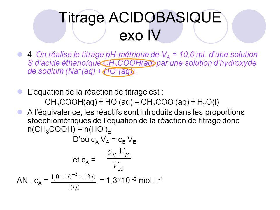 4. On réalise le titrage pH-métrique de V A = 10,0 mL d'une solution S d'acide éthanoïque CH 3 COOH(aq) par une solution d'hydroxyde de sodium (Na + (