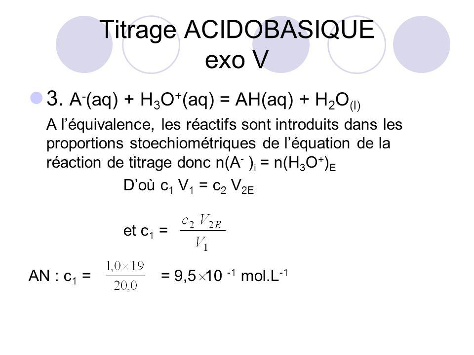 3. A - (aq) + H 3 O + (aq) = AH(aq) + H 2 O (l) A l'équivalence, les réactifs sont introduits dans les proportions stoechiométriques de l'équation de