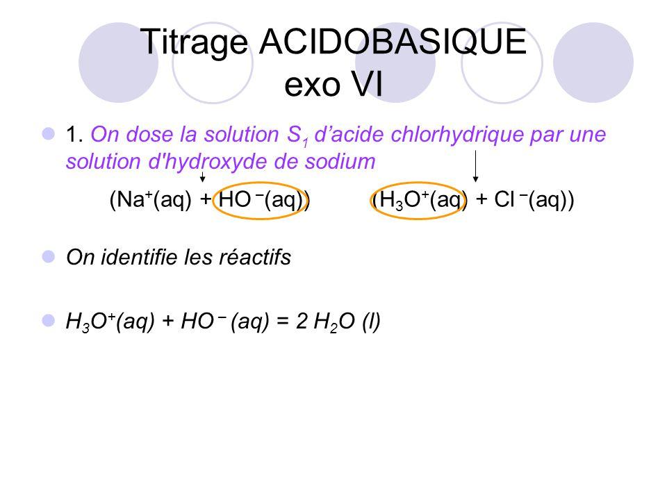 1. On dose la solution S 1 d'acide chlorhydrique par une solution d'hydroxyde de sodium On identifie les réactifs H 3 O + (aq) + HO – (aq) = 2 H 2 O (
