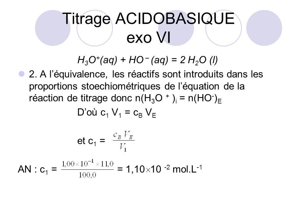 H 3 O + (aq) + HO – (aq) = 2 H 2 O (l) 2. A l'équivalence, les réactifs sont introduits dans les proportions stoechiométriques de l'équation de la réa