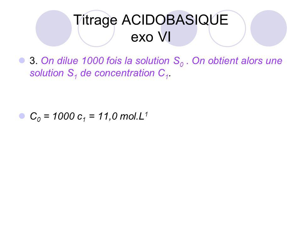 3. On dilue 1000 fois la solution S 0. On obtient alors une solution S 1 de concentration C 1. C 0 = 1000 c 1 = 11,0 mol.L 1 Titrage ACIDOBASIQUE exo