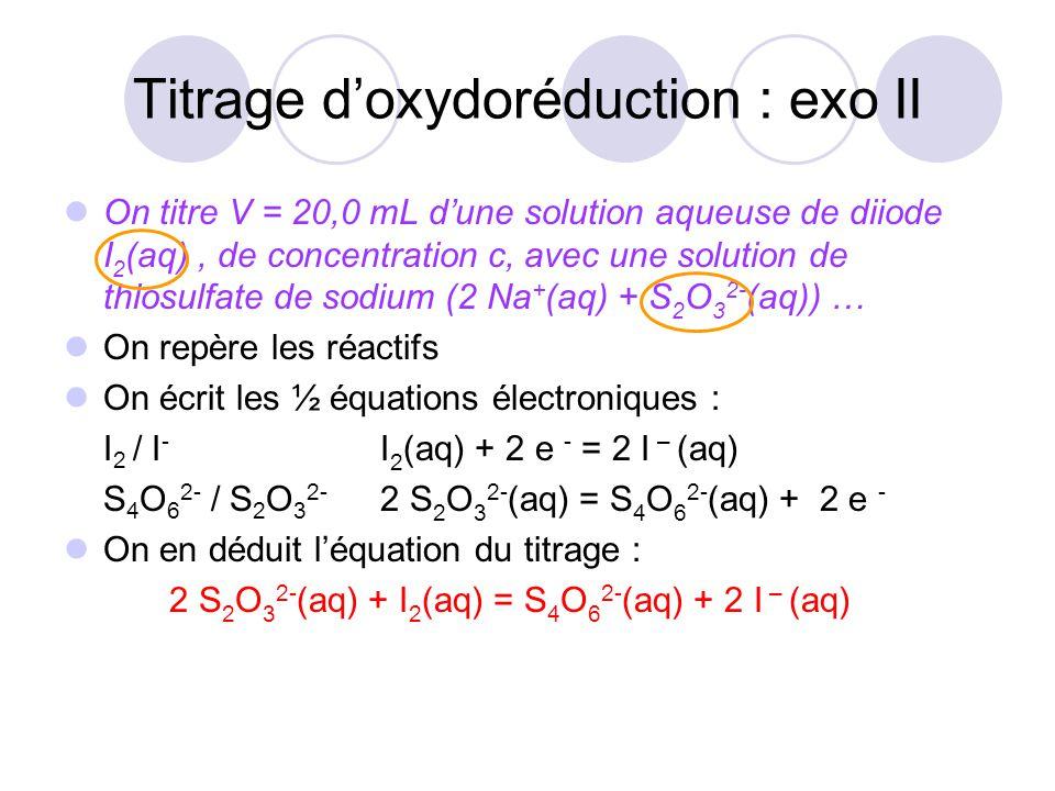 Titrage d'oxydoréduction : exo II On titre V = 20,0 mL d'une solution aqueuse de diiode I 2 (aq), de concentration c, avec une solution de thiosulfate