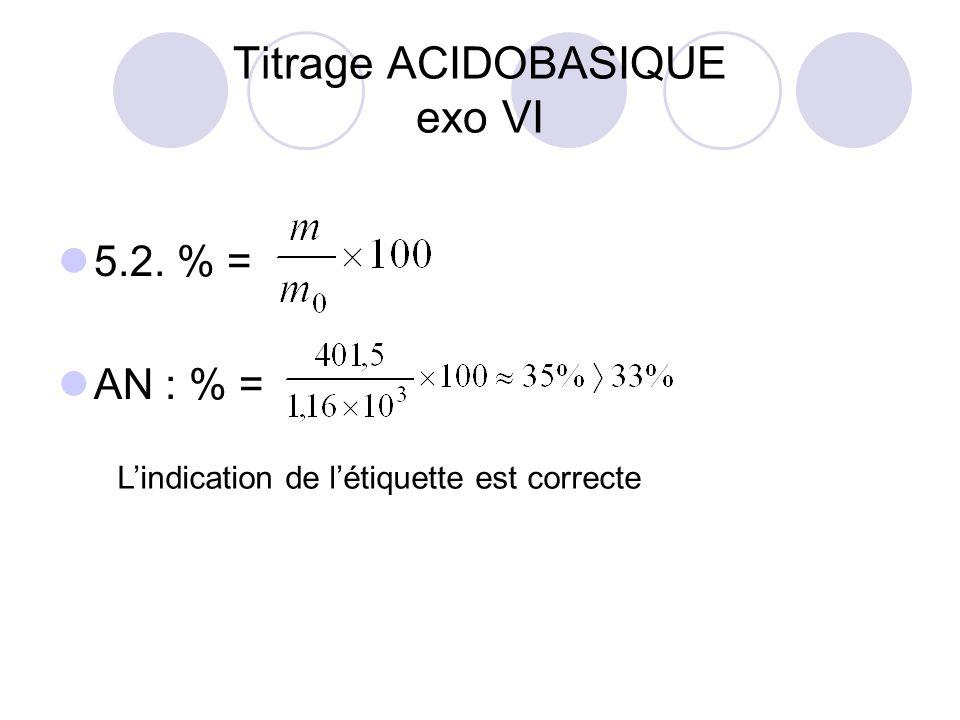 5.2. % = AN : % = Titrage ACIDOBASIQUE exo VI L'indication de l'étiquette est correcte