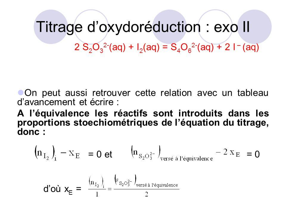 2 S 2 O 3 2- (aq) + I 2 (aq) = S 4 O 6 2- (aq) + 2 I – (aq) On peut aussi retrouver cette relation avec un tableau d'avancement et écrire : A l'équiva