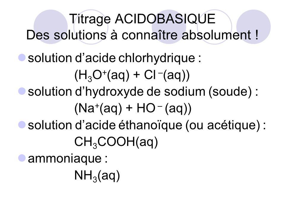 solution d'acide chlorhydrique : (H 3 O + (aq) + Cl – (aq)) solution d'hydroxyde de sodium (soude) : (Na + (aq) + HO – (aq)) solution d'acide éthanoïq
