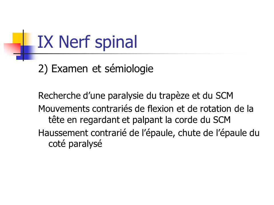 IX Nerf spinal 2) Examen et sémiologie Recherche d'une paralysie du trapèze et du SCM Mouvements contrariés de flexion et de rotation de la tête en re