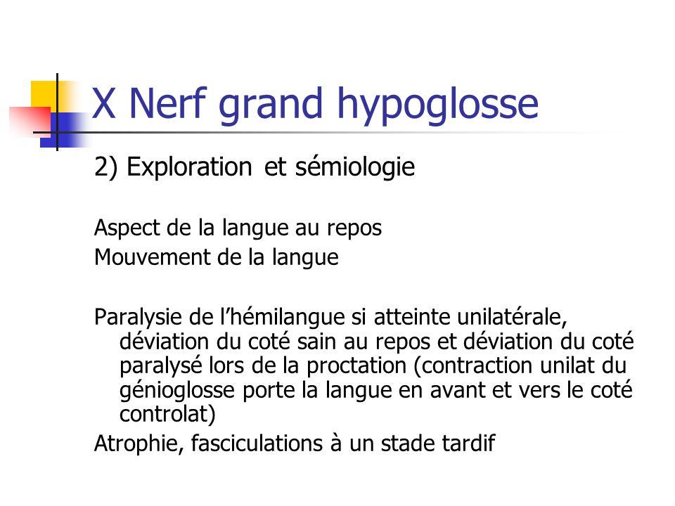 X Nerf grand hypoglosse 2) Exploration et sémiologie Aspect de la langue au repos Mouvement de la langue Paralysie de l'hémilangue si atteinte unilaté